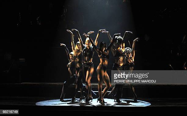 Dancers perform during the rehearsal of Fred Ebb and Bob Fosse's musical Chicago in Madrid on November 19 2009 AFP PHOTO/ PIERREPHILIPPE MARCOU