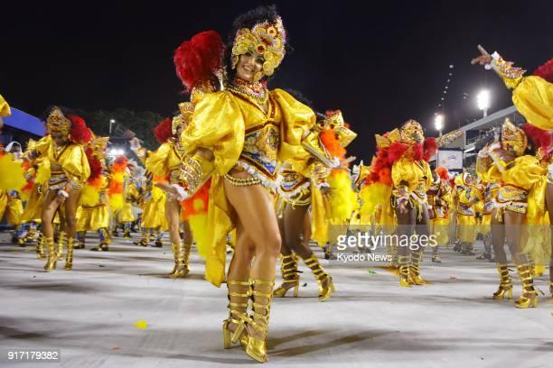 Dancers perform during the samba parade during the Rio Carnival in Rio de Janeiro on Feb 11 2018 ==Kyodo