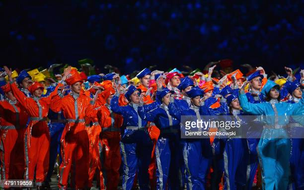 Dancers perform during the Sochi 2014 Paralympic Winter Games Closing Ceremony at Fisht Olympic Stadium on March 16 2014 in Sochi Russia