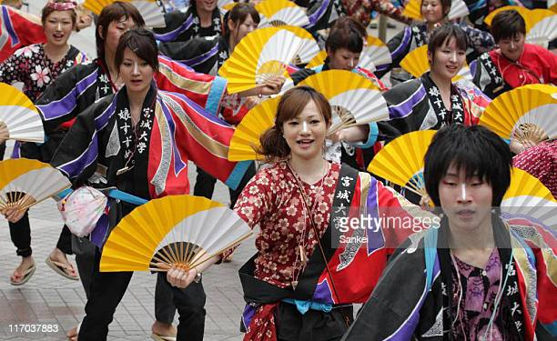 Dancers perform during the Suzume Dancing Festival on June 18 2011 in Sendai Miyagi Japan 1700 people participate in the 2day festival