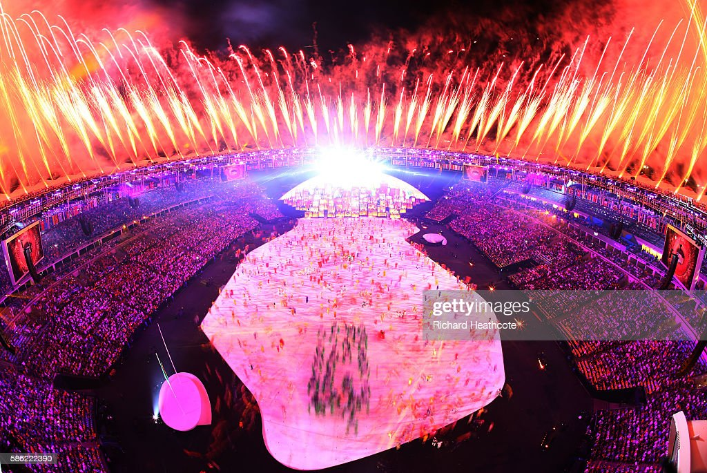 Dancers perform during the Tropical Nation segment of Opening Ceremony of the Rio 2016 Olympic Games at Maracana Stadium on August 5, 2016 in Rio de Janeiro, Brazil.