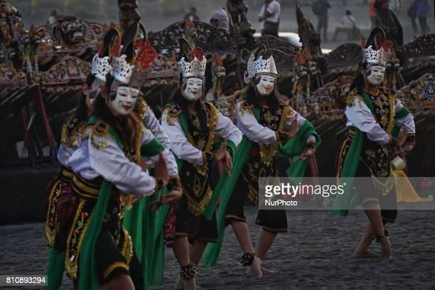 Dancers perform during the Yadnya Kasada Festival at Mount Bromo Probolinggo East Java Indonesia on July 8 2017 Yadnya Kasada ceremony is the main...