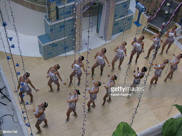Dancers perform in a shopping mall in the fashionable part of the city prior to Christmas Bogota formerly called Santa Fe de Bogotá is the capital...