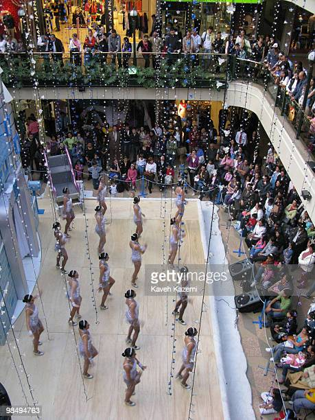 Dancers perform in a shopping mall in the fashionable part of the city prior to Christmas Bogota formerly called Santa Fe de Bogota is the capital...