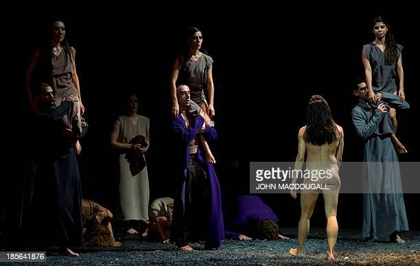 Dancers perform in Igor Stravinsky's Le Sacre du Printemps choreographed by Sasha Waltz during a dress rehearsal at Berlin's Staatsoper in the...