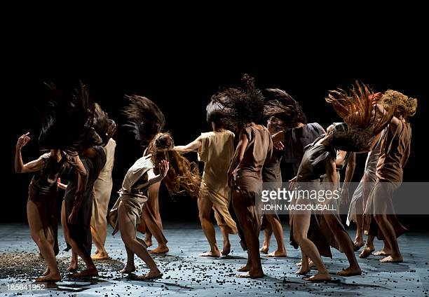 Dancers perform in Igor Stravinsky's Le Sacre du Printemps choreographed by Sasha Waltz during a dress rehearsal of Sacre at Berlin's Staatsoper in...