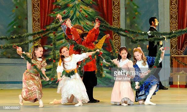 Dancers perform in Nevada Ballet Theatre's production of The Nutcracker at the Theatre des Arts at the Paris Las Vegas December 17 2011 in Las Vegas...