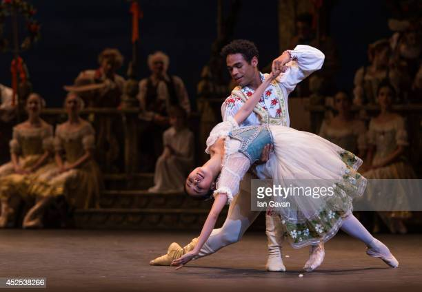 Dancers perform on stage as the English National Ballet rehearse Coppelia at the Coliseum on July 22 2014 in London England
