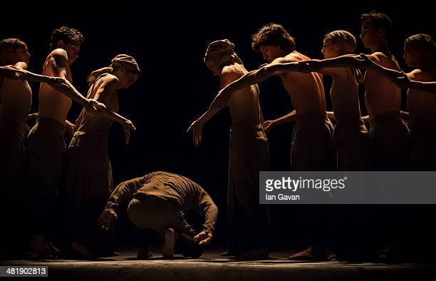 Dancers perform on stage during a dress rehearsal of the English National Ballet's Lest We Forget at the Barbican Centre on April 1 2014 in London...