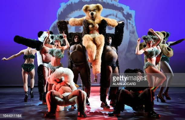 Dancers perform on stage during a preview of the Fashion freak show created by French fashion designer JeanPaul Gaultier at the Folies Bergeres...
