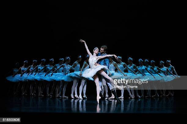 Dancers perform on stage during rehearsal of the Australian Ballet's production of Swan Lake at Sydney Opera House on March 31 2016 in Sydney...
