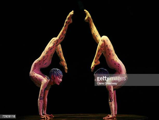 Dancers perform on stage during the dress rehearsal for Cirque Du Soleil's 'Alegria' at Royal Albert Hall on January 4 2007 in London England The...