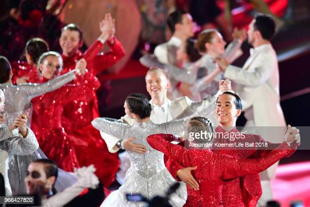 Dancers perform on stage during the Life Ball 2018 show at City Hall on June 2 2018 in Vienna Austria The Life Ball an annual charity event raising...