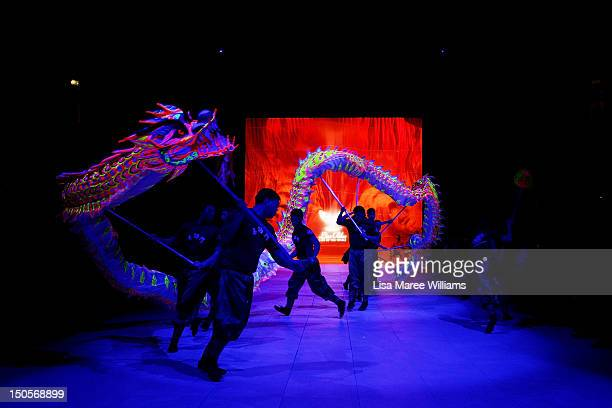 Dancers perform on stage during the Miami Swim show as part of the MercedesBenz Fashion Festival Sydney 2012 at Sydney Town Hall on August 22 2012 in...