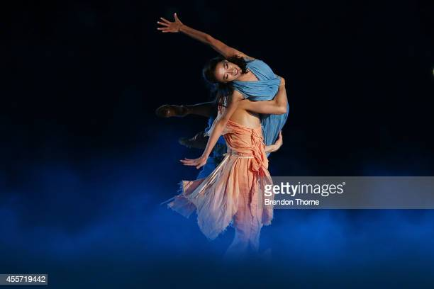 Dancers perform on stage during the Opening Ceremony ahead of the 2014 Asian Games at Incheon Asiad Main Stadium on September 19, 2014 in Incheon,...