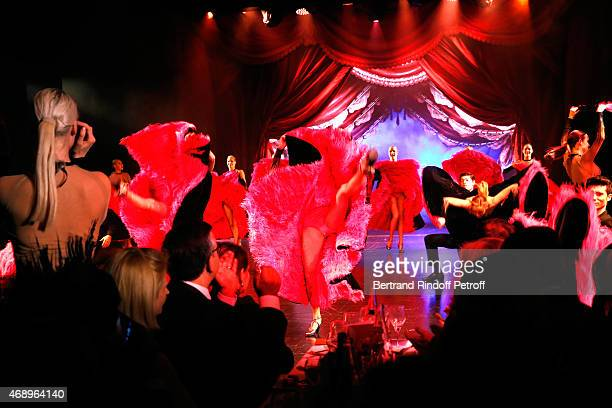 Dancers perform on stage during the 'Paris Merveilles' Lido New Revue Opening Gala on April 8 2015 in Paris France
