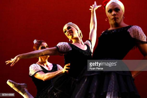 Dancers perform on stage during the press call for Les Ballets Trockadero de Monte Carlo at the Theatre Royal on November 10 2009 in Sydney Australia...