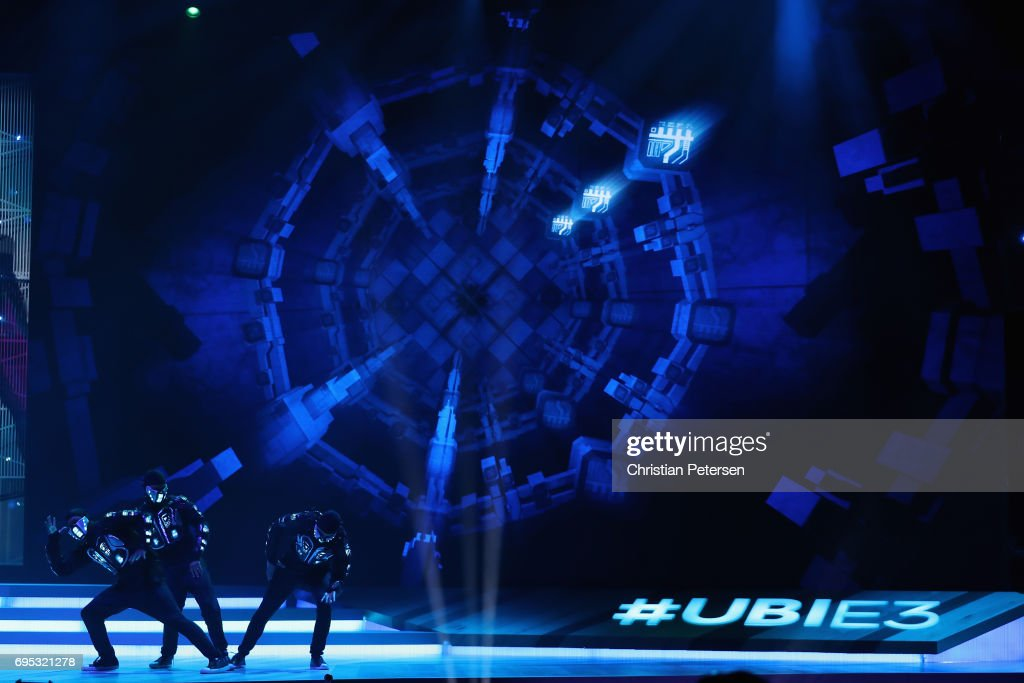 Dancers perform on stage during the Ubisoft E3 conference at the Orpheum Theater on June 12, 2017 in Los Angeles, California. The E3 Game Conference begins on Tuesday June 13.