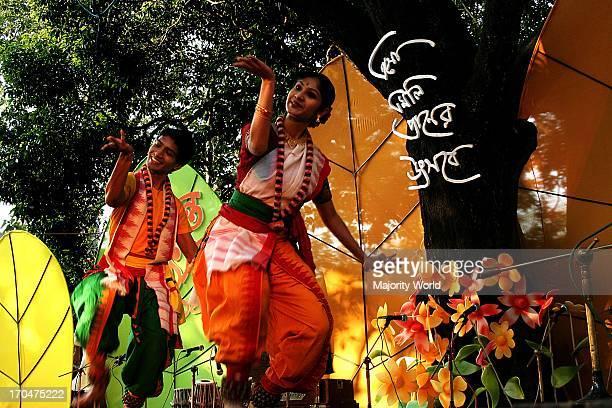 Dancers perform on the Basanta Utsav or Basanta festival celebrating the Bengali month of Falgoon at the Art Institute of Dhaka University in Dhaka...