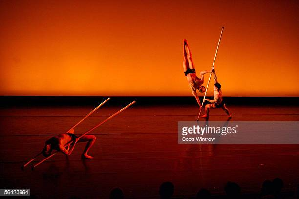 Dancers perform Pole Dance at a benefit performance for dancers responding to AIDS at Cedar Lake theater on December 12 2005 in New York City