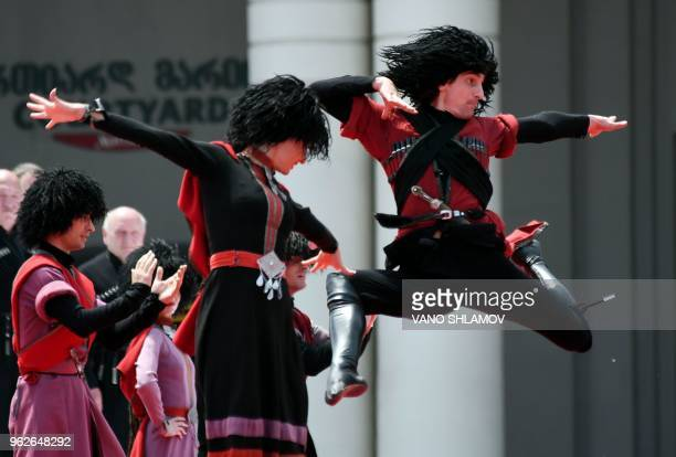 Dancers perform the Georgian traditional dance on May 26 2018 in Tbilisi as the country marks the 100th anniversary of its independence