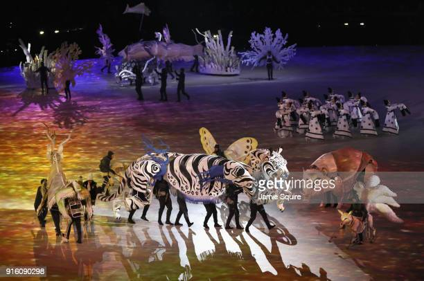 Dancers perform The Land of Peace segment during the Opening Ceremony of the PyeongChang 2018 Winter Olympic Games at PyeongChang Olympic Stadium on...
