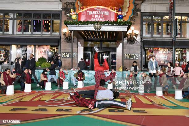 Dancers perform the opening sequence at Macy's Thanksgiving Day Parade Talent Rehearsals at Macy's Herald Square on November 21 2017 in New York City