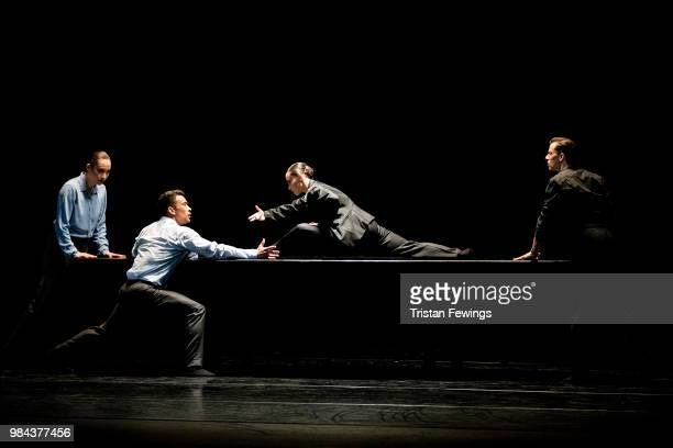 Dancers perform The Statement during the Nederlands Dans Theater 1 Photocall at Sadler's Wells Theatre on June 26 2018 in London England