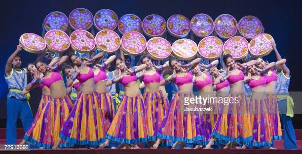 Dancers perform their routine during the Indian musical Bharati at the Berlin premiere at Berlins ICC Center January 2 2007 in Berlin Germany The...