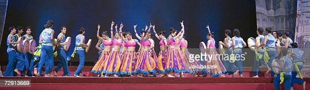 Dancers perform their routine during the Indian musical Bharati at the Berlin premiere at Berlins ICC Center January 2, 2007 in Berlin, Germany. The...