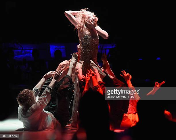 """Dancers perform """"Wading Games"""" choreographed by Ryan Heffington at the 8th Annual HEAVEN Gala presented by Art of Elysium and Samsung Galaxy at..."""