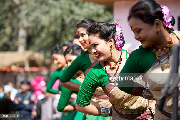 Dancers performing classical dance in fair, Surajkund, Faridabad, Haryana, India