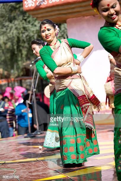 Dancers performing classical dance in fair, Surajkund, Faridabad, Haryana, India