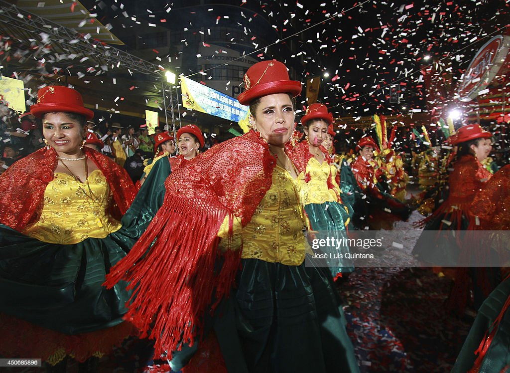 Dancers performs 'la morenada', a traditional dance of Bolivia during the religious festival of Jesus del Gran Poder on June 15, 2014 in La Paz, Bolivia. About thirty thousand people attended the event, which is a traditional folk celebration in the country.