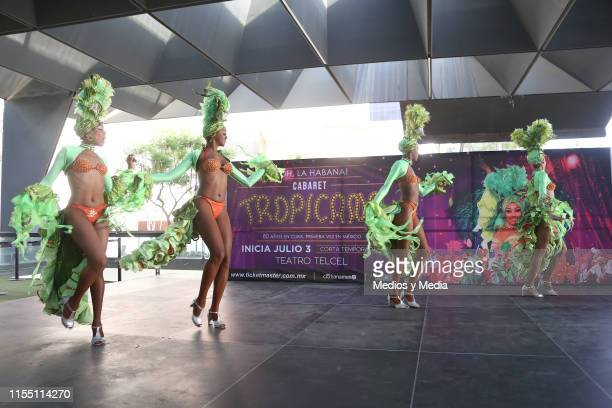 Dancers performs on stage during a press conference to present the play 'Oh La Habana' at Teatro Telcel on June 10 2019 in Mexico City Mexico