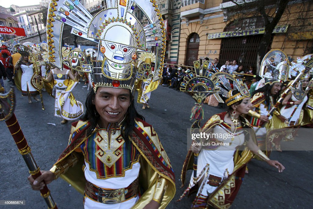 Dancers performs 'The inka dance', a traditional dance of Bolivia during the religious festival of Jesus del Gran Poder on June 15, 2014 in La Paz, Bolivia. About thirty thousand people attended the event, which is a traditional folk celebration in the country.