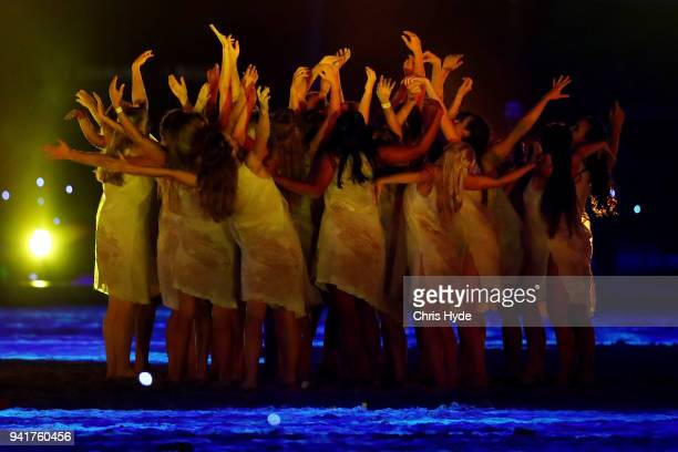 Dancers perfrom during the Opening Ceremony for the Gold Coast 2018 Commonwealth Games at Carrara Stadium on April 4 2018 on the Gold Coast Australia