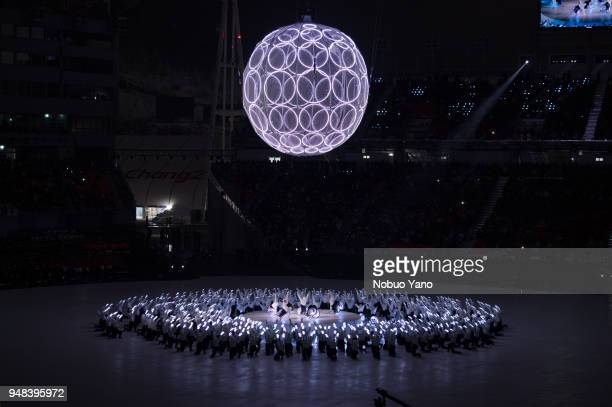 Dancers perfrom during the opening ceremony of the PyeongChang 2018 Paralympic Games at the PyeongChang Olympic Stadium on March 9 2018 in...