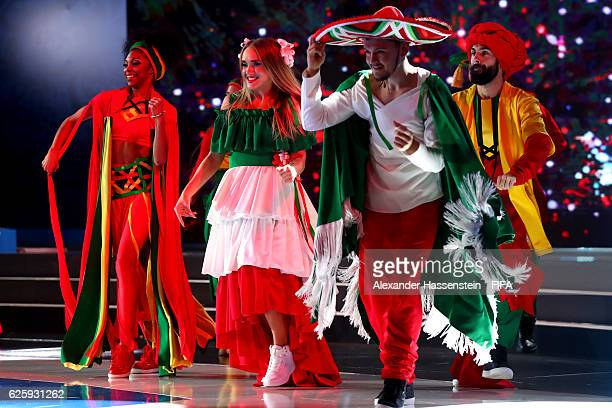 Dancers permorme during the Official Draw for the FIFA Confederations Cup Russia 2017 at Kazanskaya akademiya tennisa on November 26 2016 in Kazan...