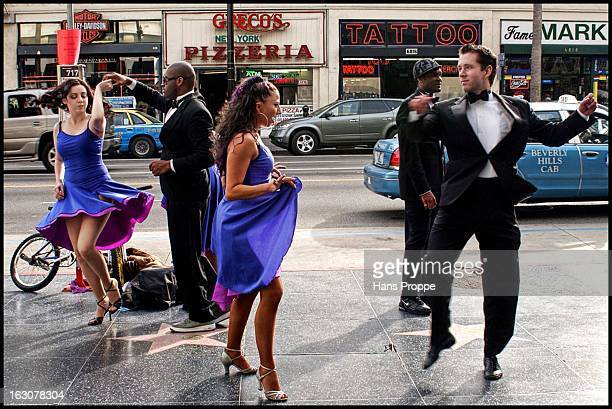 CONTENT] Dancers promoting the Dancing with the Stars television show on Hollyiwood Boulevard