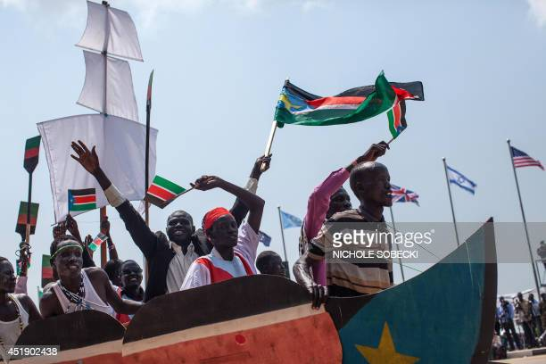 Dancers put on a short theatrical performance promoting unity in South Sudan and hope for a peaceful future in the war torn nation during...