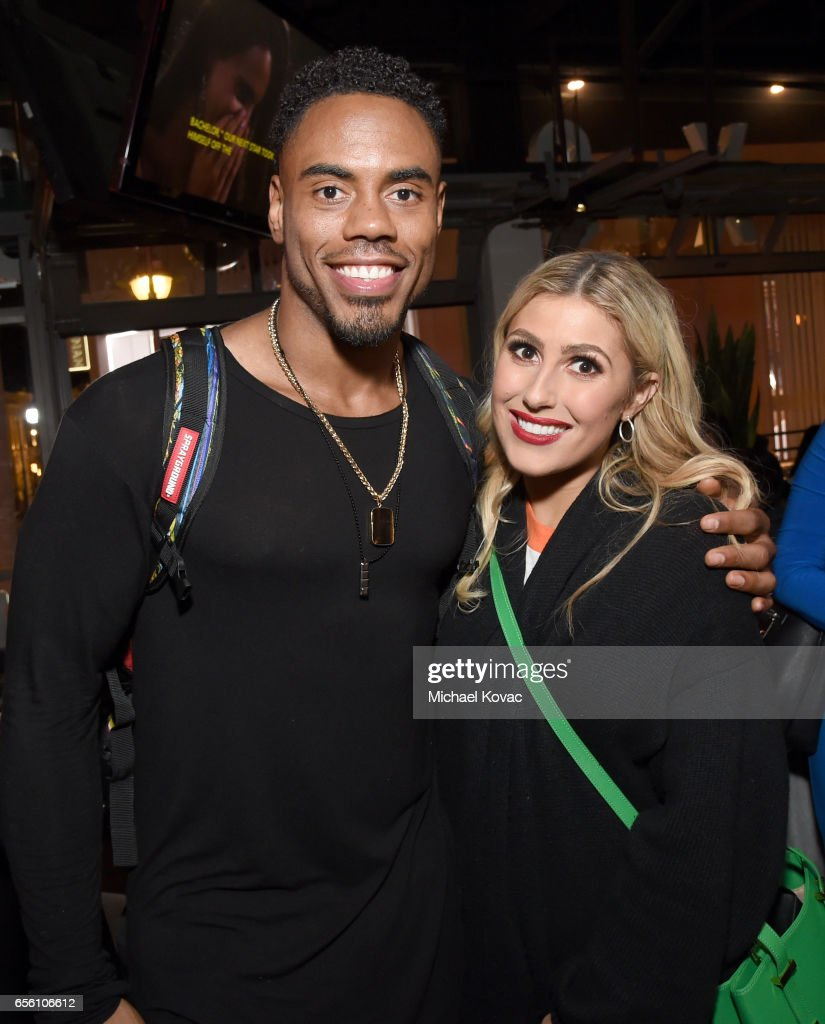 Dancers Rashad Jennings and Emma Slater attend the 'Dancing With The Stars' season 24 premiere celebration at Mixology 101 on March 20, 2017 in Los Angeles, California.