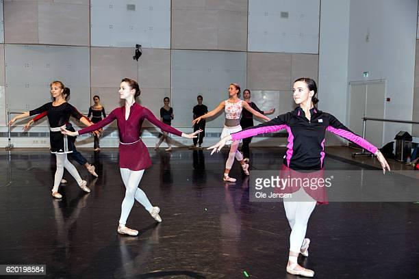 Dancers rehearse as Queen Margrethe of Denmark attends the first rehearsal on the new set up of Tchaikovsky's The Nutcracker for which the Queen has...