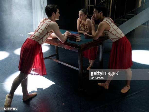 Dancers relax on stage as they wait for Act 2 to begin during the World Premier of Northern Ballet's performance of 'Victoria' at Leeds Grand Theatre...