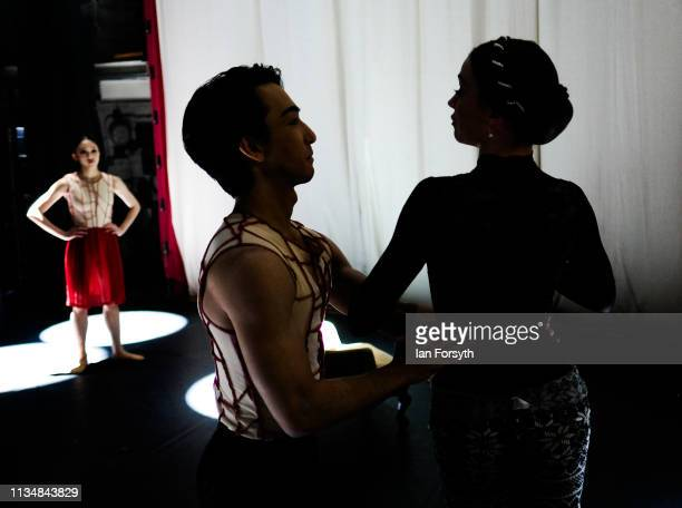 Dancers run through their routines on stage before the curtain goes up for the World Premier of Northern Ballet's performance of 'Victoria' at Leeds...