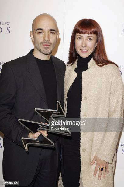 Dancers Russell Maliphant and Sylvie Guillem pose in the press room with the award for Best Dance for Push at the South Bank Show Awards the 10th...