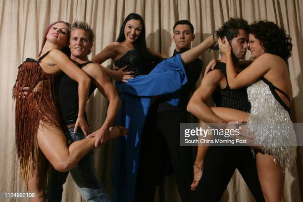Dancers Sarah West Damien Whitewood Rebecca Sugden Damon Sugden Sasha Farber and Giselle Peacock of a Salsa dance/musical prodcution called 'Burn The...