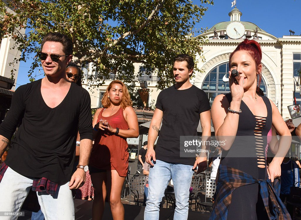 The Grove Hosts Dancing With The Stars Dance Lab With pros Val Chmerkovskiy, Whitney Carson and Sharna Burgess : News Photo