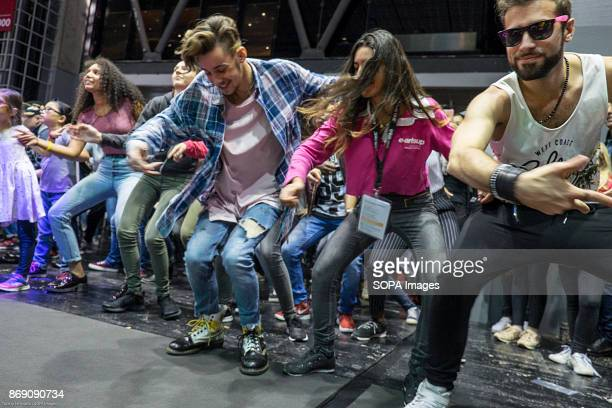 Dancers seen dancing on stage at the games fair The 2017 Paris Games Week is open to public from 1st November to 5th of November The Games Week is a...