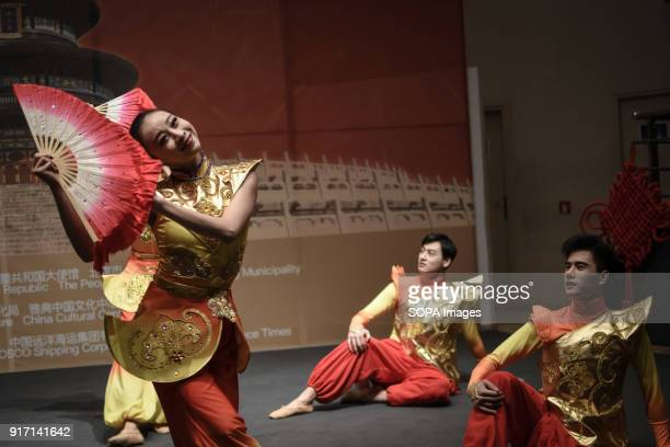 Dancers seen performing the traditional chinese dance during the 'Chinese New Year Night of Beijing' event The Beijing National Orchestra holds the...